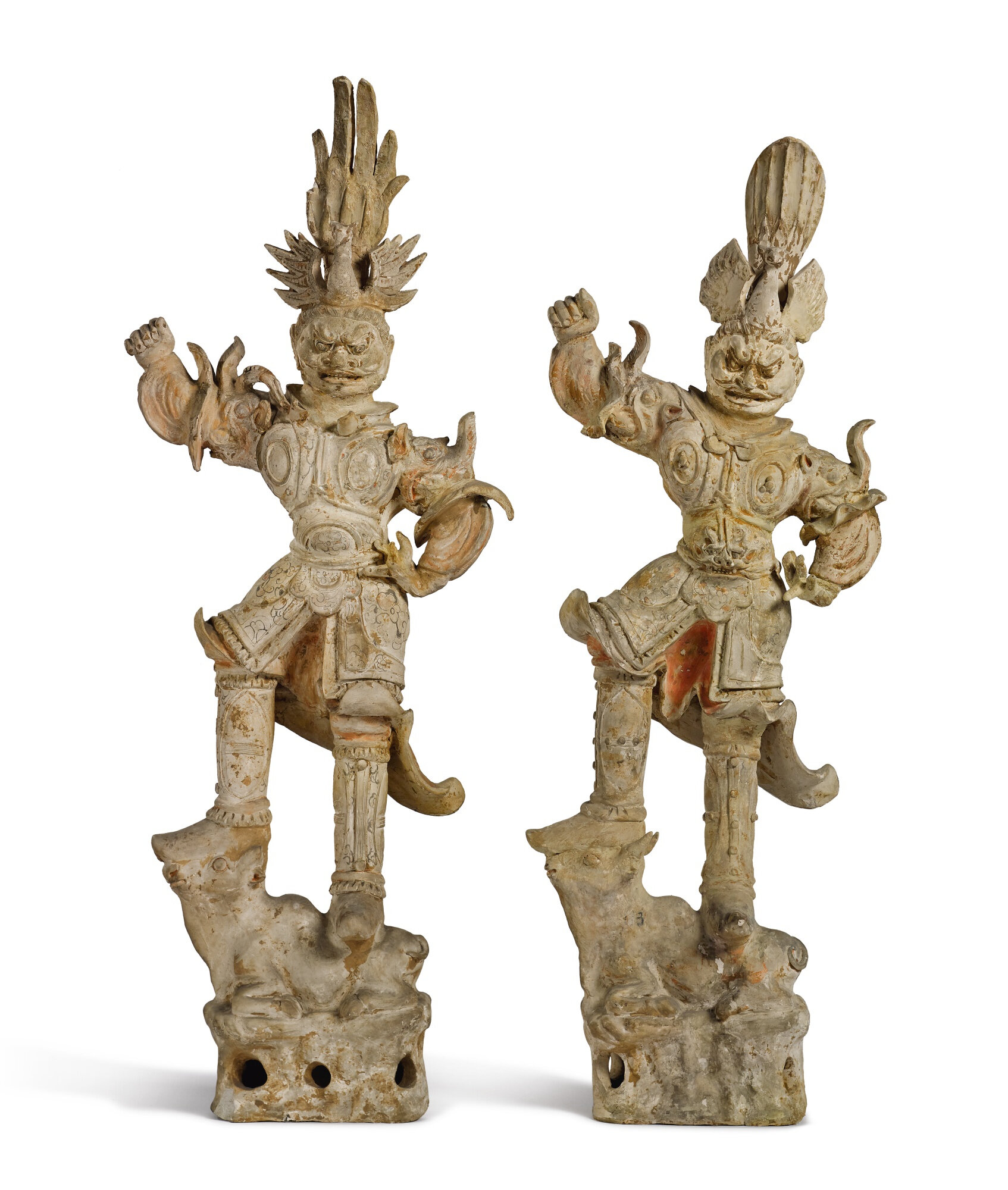 Two large painted pottery figures of lokapala, Tang dynasty (618-907)