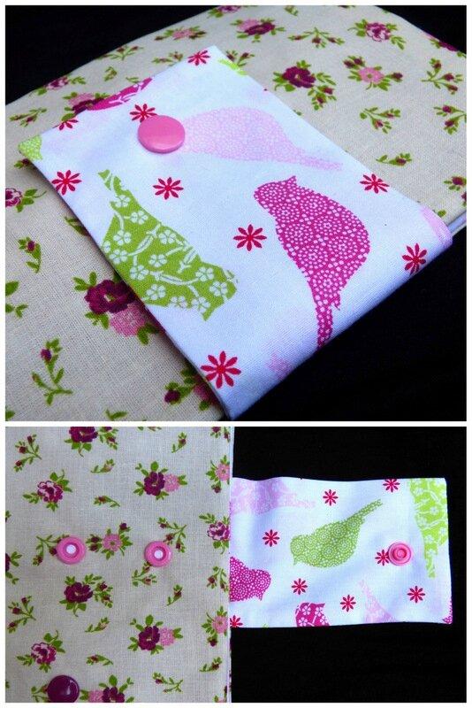 pochette à bijoux fleuri rétro rose et violet1