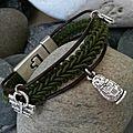 Aujourd'hui, voici un modèle de bracelet cuir et galon avec breloques un peu rétro