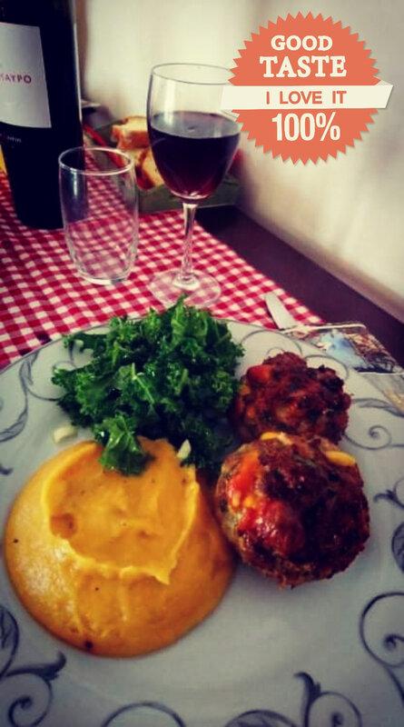 petits pâtés à la viande et aux légumes purée pdt potimarron et salade de brocoli