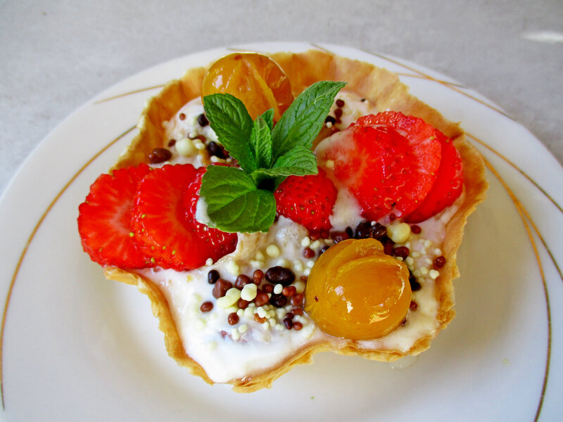 coupelle mirabelles confiture fraises
