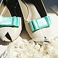 clips chaussure mariage noeud satin vert menthe mint
