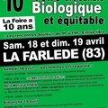 10ème foire artisanale biologique et équitable à la farlède les 18 et 19 avril 2015