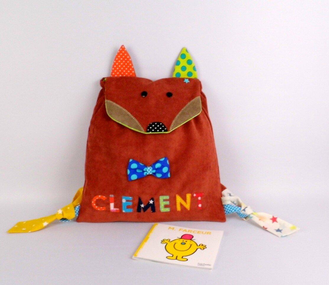 Sac enfant personnalisé Clément renard école maternelle crèche sac à dos bébé sac à langer personnalisable toddler backpack fox personnalized name
