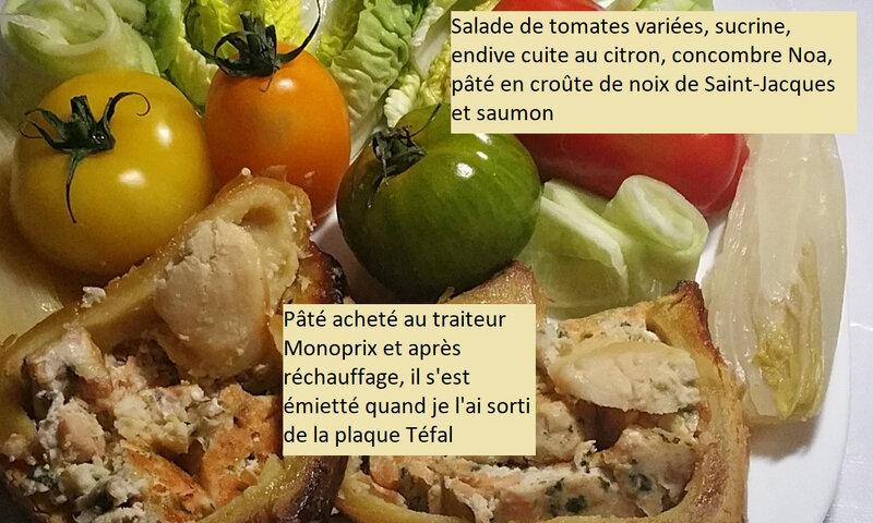 Salade de tomates variées, sucrine, endive cuite au citron, concombre Noa et pâté en croûte de noix de Saint-Jacques et saumon 2