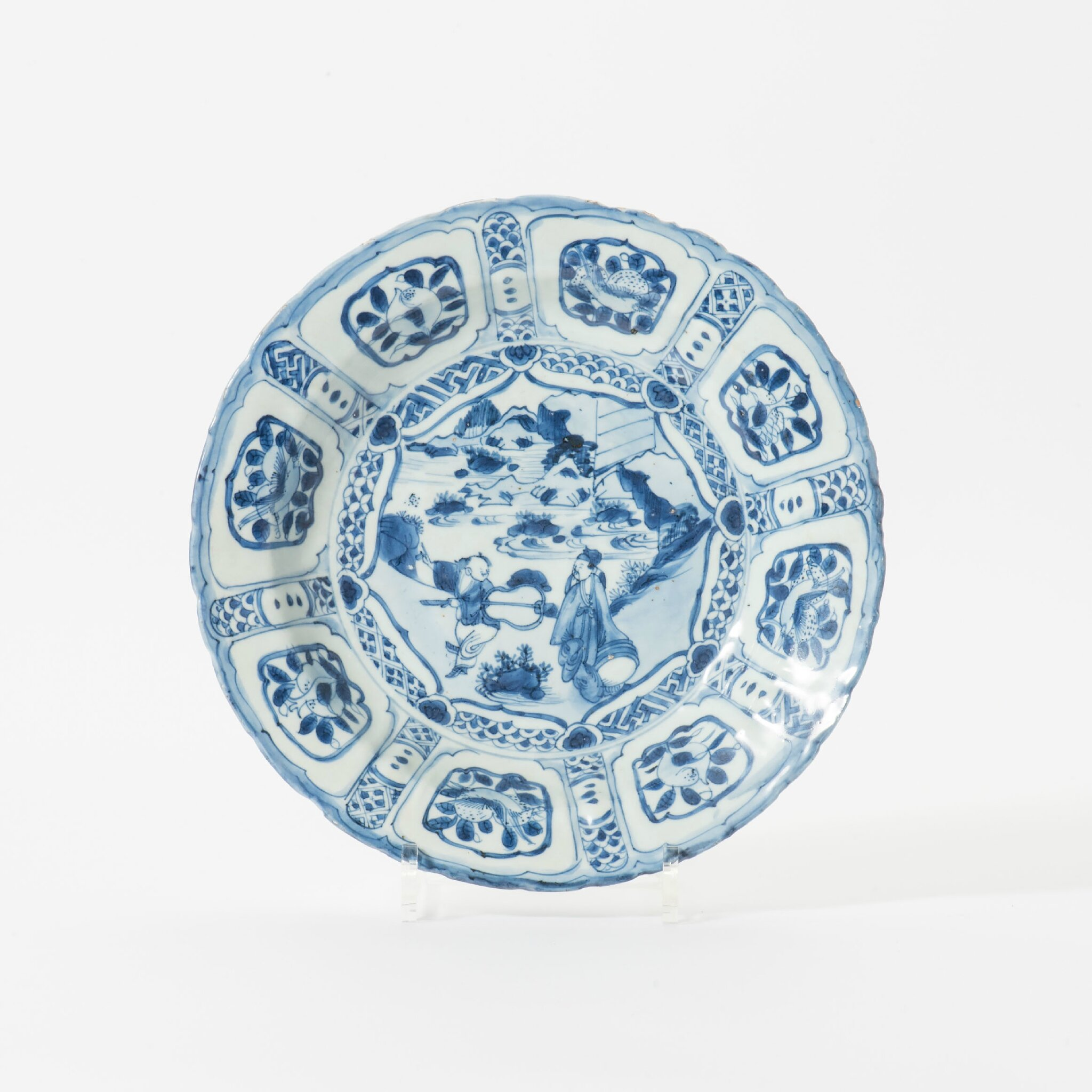 A Kraak porcelain molded rim dish, Wanli period (1573-1619)