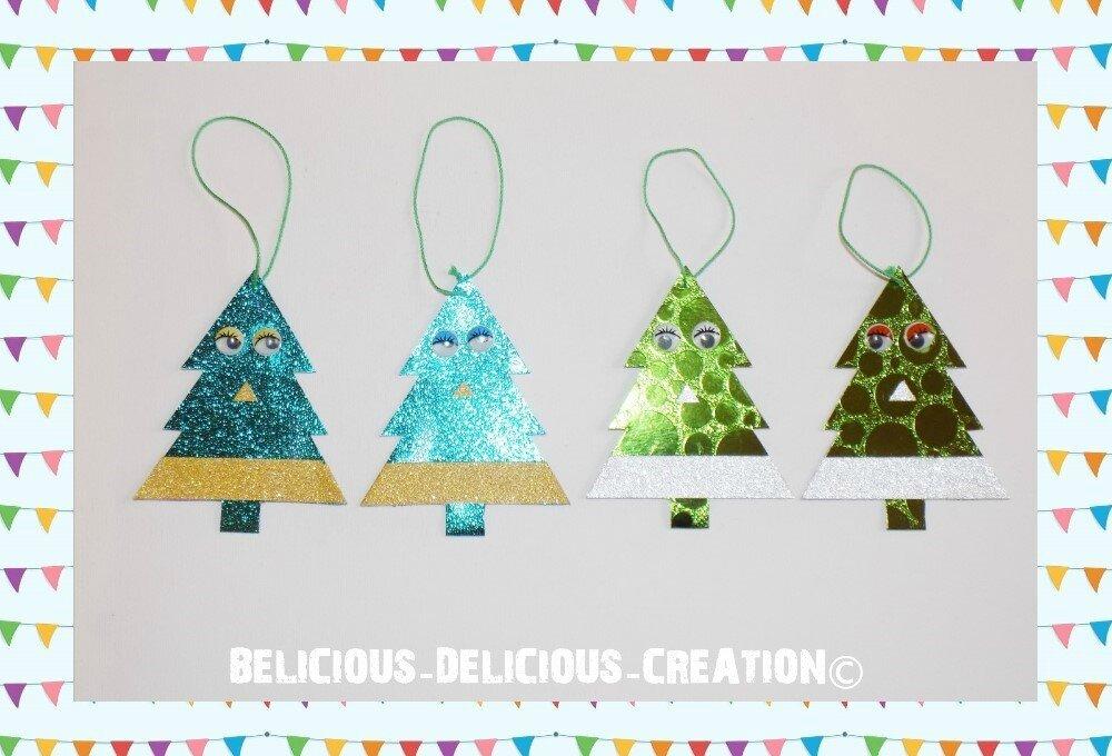 Original:Deco pour Noel !! XMAS TREE !! en Miroir Carton Gaufré bleu Et vert BELICIOUS-DELICIOUS-CREATION