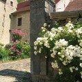 Grande porte d'entrée avec des roses anciennes