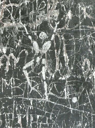 Sur un mur, graffiti d'un artiste contemporain
