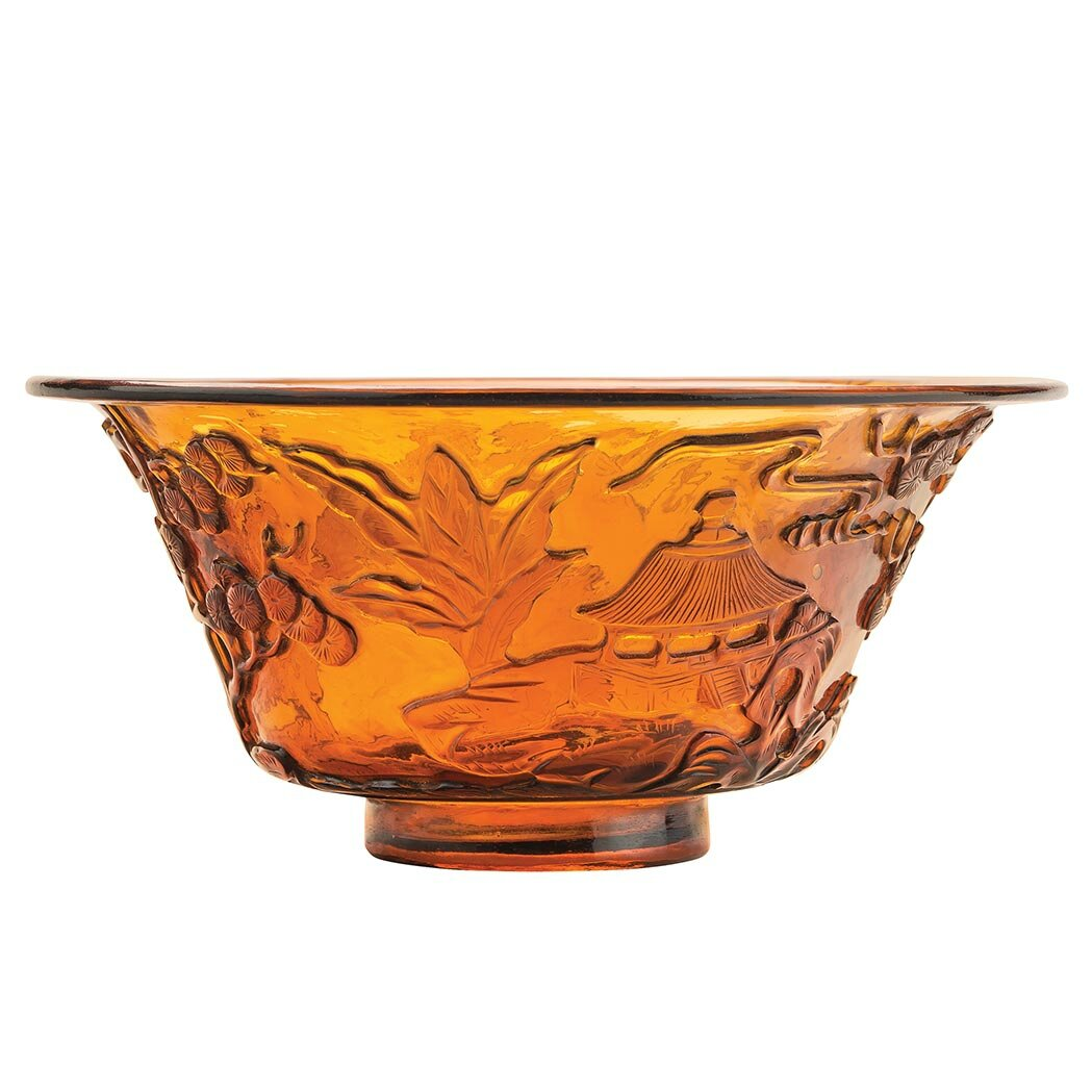 Chinese Amber Glass Bowl, Qing Dynasty