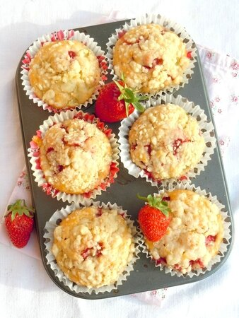 muffins fraise rhubarbe crumble 77c