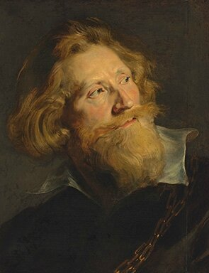 Sir Peter Paul Rubens, Portrait of a bearded man, in three-quarter profile, bust-length, with a white collar and gold chains