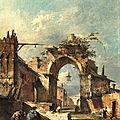 Francesco guardi (1712 venice - 1793 venice), capriccio con arco rovinato e mura di paese