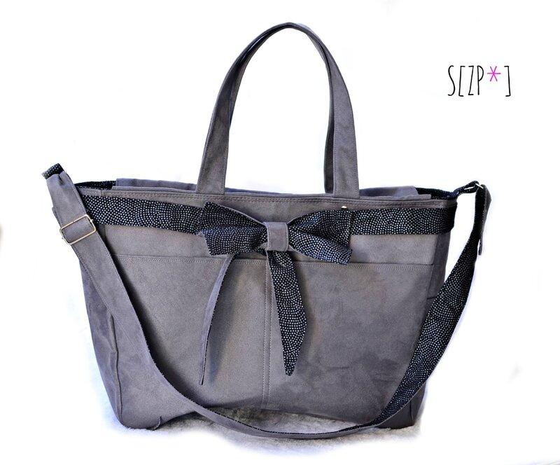 sac cabas épaule, suédine gris, coton noir pois brillants