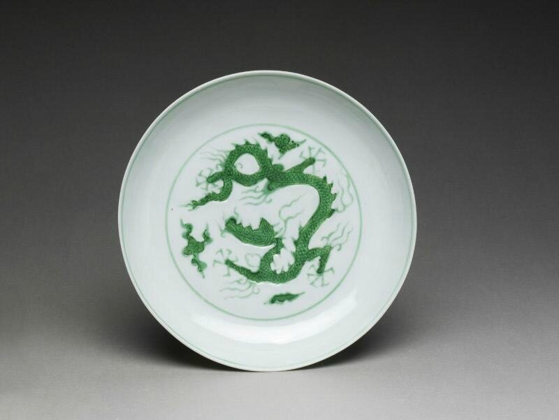 Plate with dragons, Ming dynasty (1368-1644), Zhengde mark of the period (1506-1521)