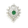 Gold, platinum, emerald, pearl and diamond brooch, marcus & co