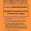 A l'agenda du samedi 12 octobre 2013