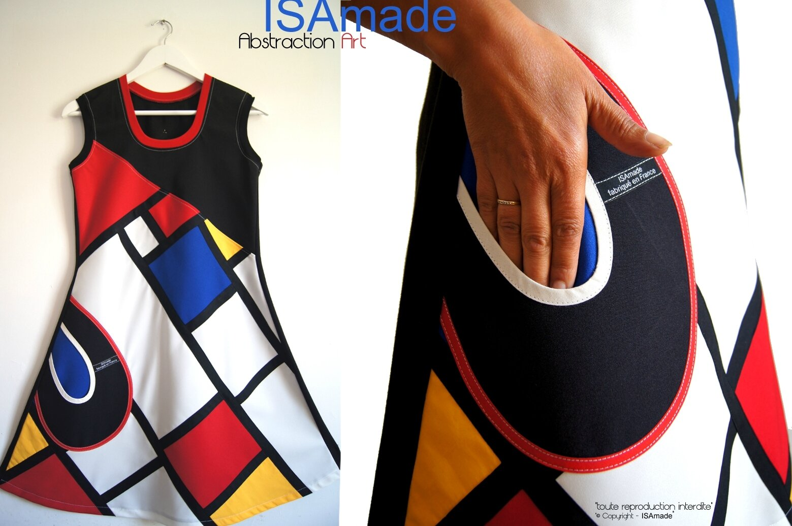 Robe patchwork graphique Arty patchwork chic créateur, un Automne aux influences Sixties : la robe »Abstraction Art » Made in France