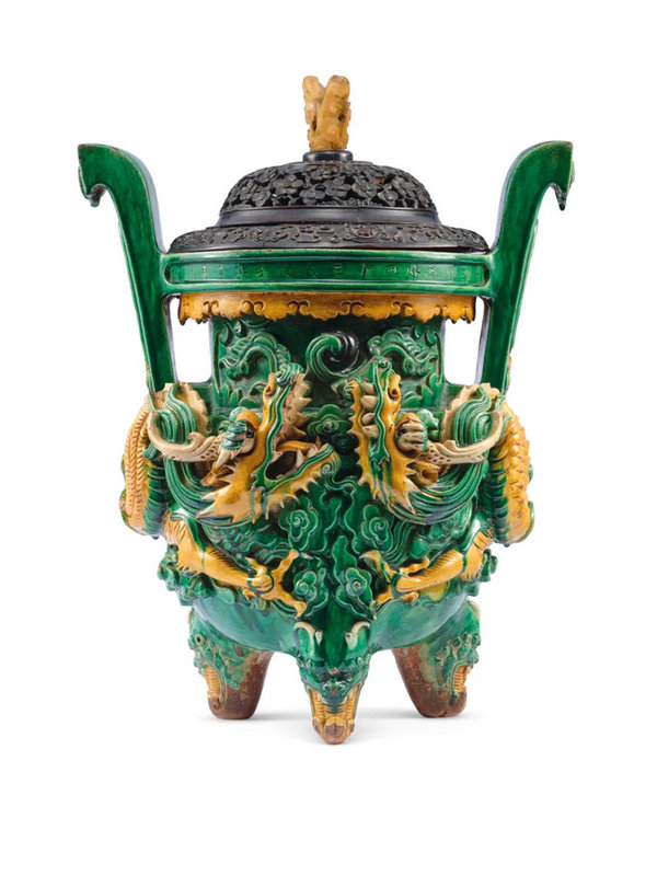 A Rare Large Datedsancai-Glazed Pottery 'Dragon' Censer, Dated Wanli 40th Year By Inscription, Corresponding To 1612 And Of The Period