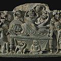 A grey schist relief depicting the parinirvana of buddha, ancient region of gandhara, kushan period, 2nd century