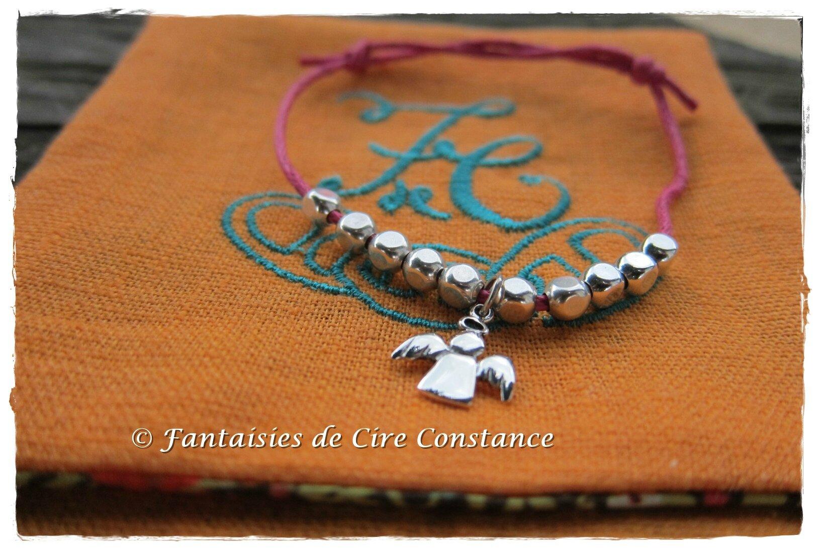 bracelet coton ciré fushia ange perles argent-1