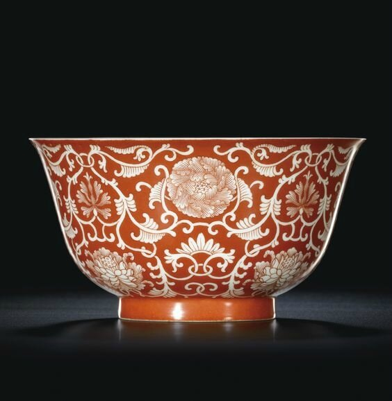 A fine coral-red reverse-decorated 'Lotus' bowl, Seal mark and period of Qianlong (1735-1796)