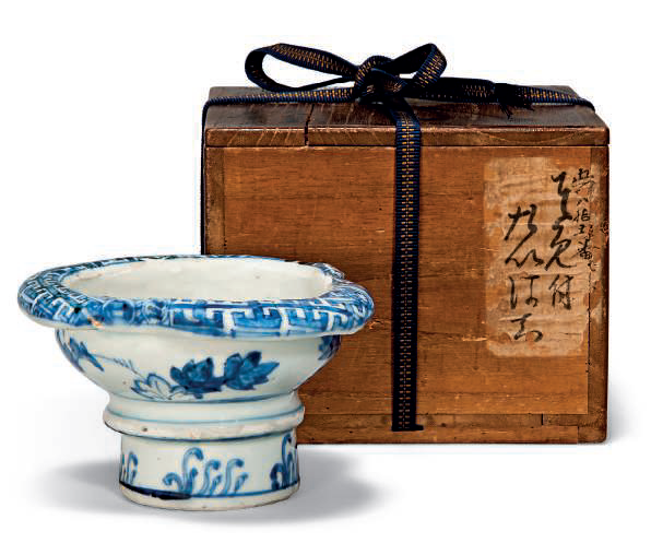 A blue and white trefoil ko-sometsuke stem bowl, Tianqi period (1621-1627)