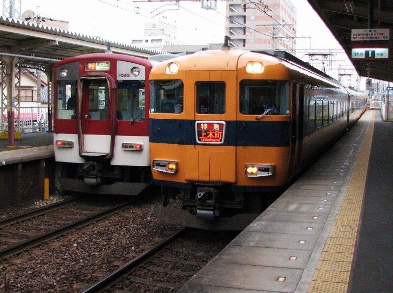 近鉄12410系 & 1437系(1543F) 伊勢市駅 Iseshi station, Yamada line.