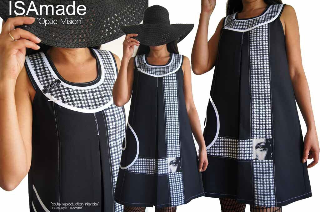MOD-448A Robe bicolore noire & blanc graphique trapèze créateur imprimé géométrique