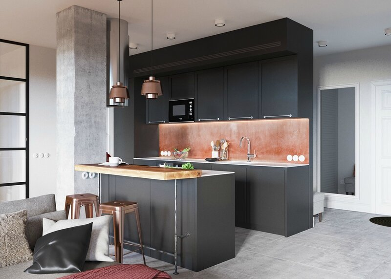 black-kitchen-with-copper-backsplash