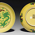 A pair of green and aubergine-glazed yellow-ground dishes, qianlong seal marks in aubergine and of the period (1736-1795)