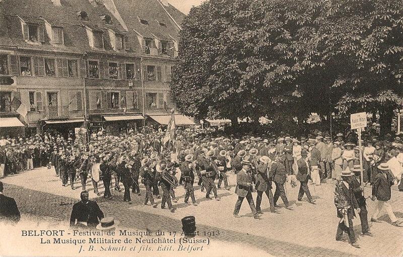 1913 08 17 Belfort CPA Festival Musique Défilé Neufchâtel