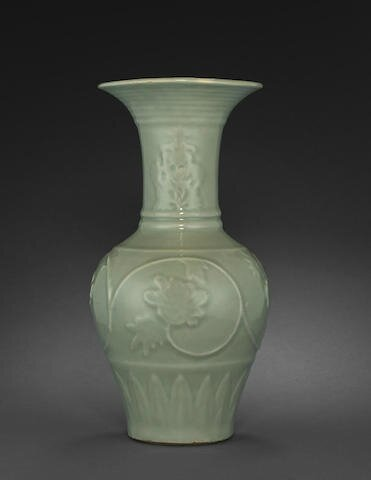 A fine and rare Longquan celadon vase with molded decoration, Yuan dynasty