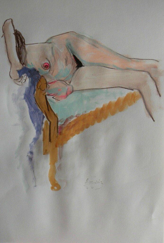 Tableaux de nus dessin et peinture modèle vivant (5)