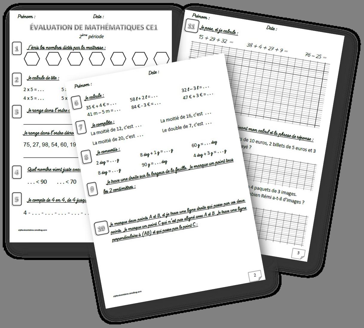 Evaluations De Mathematiques Ce1 1er Trimestre Periode 1 Periode 2 2eme Trimestre Les Alphas De Lacatalane