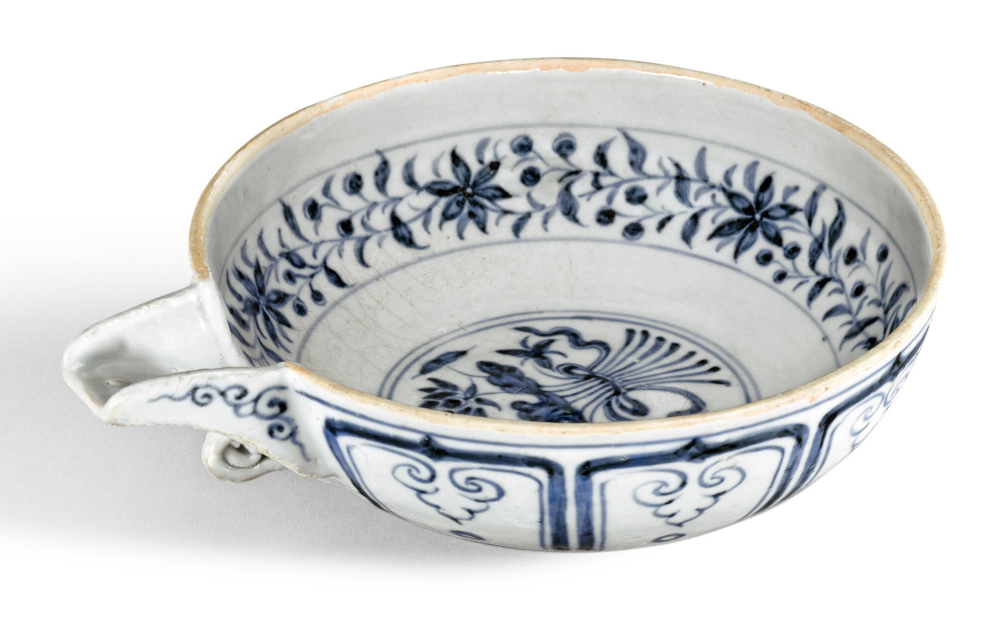 A blue and white pouring bowl, yi, Yuan dynasty
