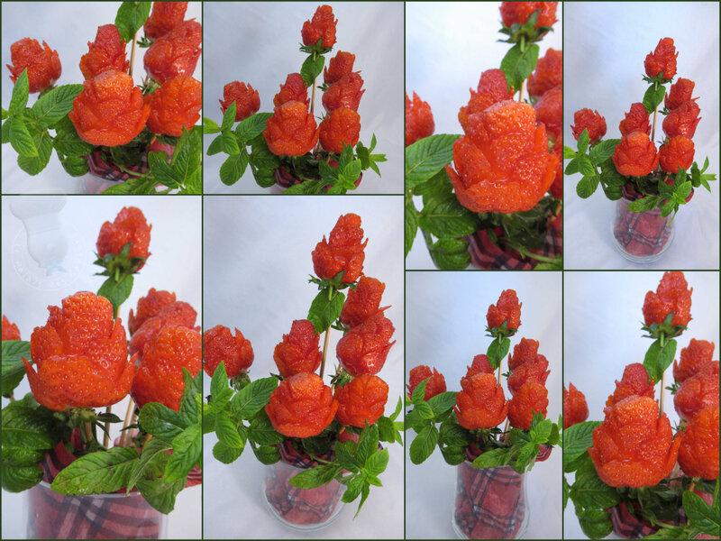 Bouquet de roses fraises