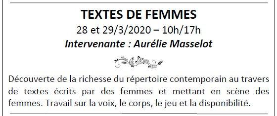 Stage TEXTES DE FEMMES