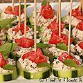 Bouchées apéritives concombre rillettes de sardine tomates cerises