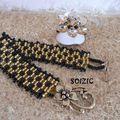 Bracelet Chekered et bague cristal swarovski