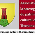 Lettre d'information de l'association de sauvegarde du patrimoine de thorame-haute