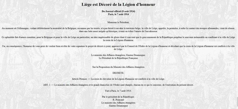 Liège est décorée de la légion d'honneur
