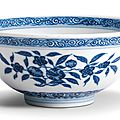 A Ming-style blue and white 'sanduo' bowl, Mark and period of Daoguang (1821-1850)