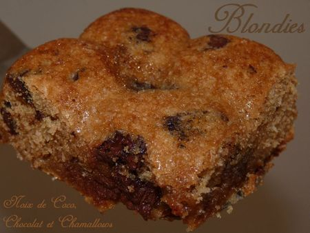 Blondies noix de coco, chocolat et chamallows