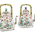 A pair of famille verte teapots and covers, kangxi period (1662-1722)