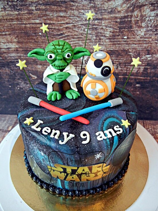 gateau star wars yoda bb8 galaxie prunillefee 1