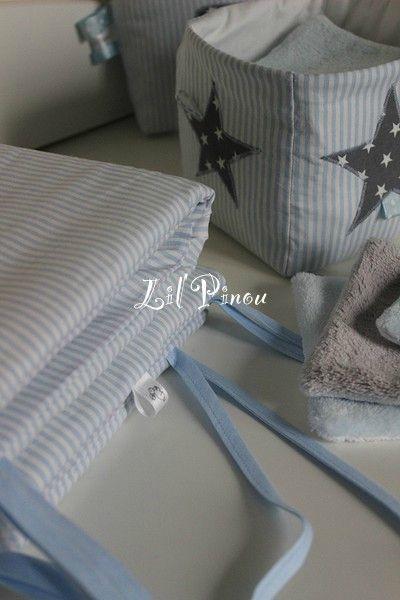 Corbeille en tissu et tour de lit coordonné
