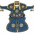 A manchu military officer's silk and metal ceremonial armour, late 19th century