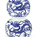 A blue and white 'dragon' double-gourd vase, mark and period of jiajing (1522-1566)
