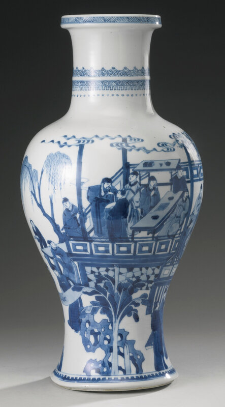 A blue and white 'Four accomplishments' baluster vase, Qing dynasty, Kangxi period (1662-1722)3